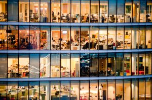 Workers in modern office building