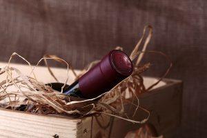 Bottle of wine in box