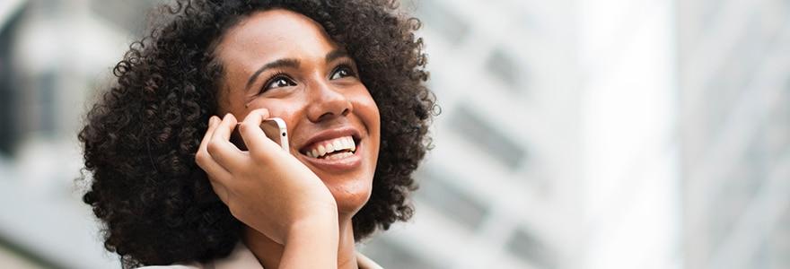 Black professional woman on phone