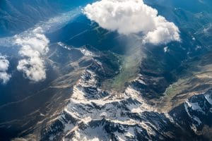 Aerial view of Mountain in Switzerland, seen from above.